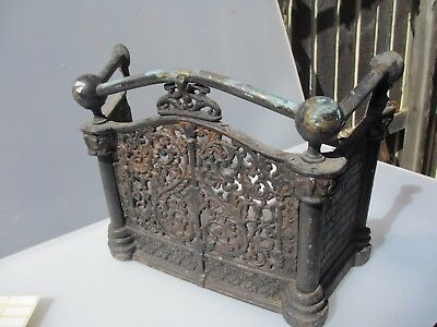 Antique Iron Fire Front Fireplace Brick Gilt Leaf Tidy Betty Brass Pipes Vintage