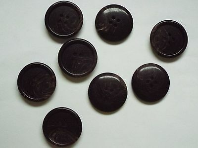 8pc 23mm Dark Brown Ringed Wood Effect Coat Suit Cardigan Knitwear Button 5063