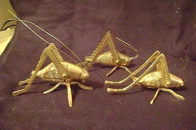 3 Different Brass Grasshoppers