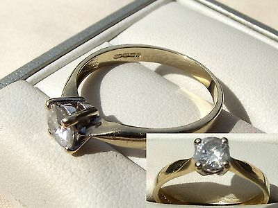 * 9CT GOLD * 0.75ct MOISSANITE SOLITAIRE RING *