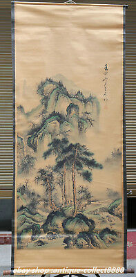 """61"""" Antique Chinese Scroll Painting Ancient Mountains-and-waters Drawing '山水图'"""