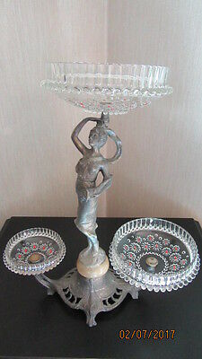 Antique or Vintage Argentinian Metal Czech Glass & Onyx Epergne for Refurbishing