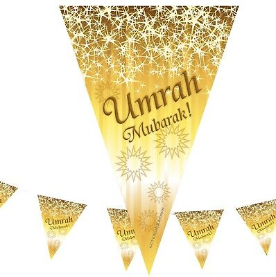 Umrah Mubarak Premium Bunting (2m Long with 7 Large Flags) Islam Eid Decoratio