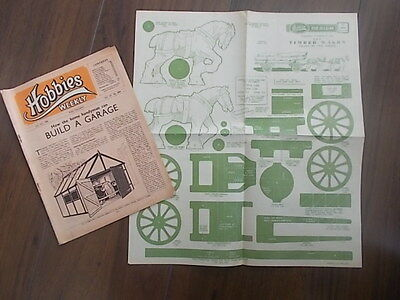 HOBBIES WEEKLY MAGAZINE JULY 12th 1950 FREE DESIGN TIMBER WAGON AND HORSES