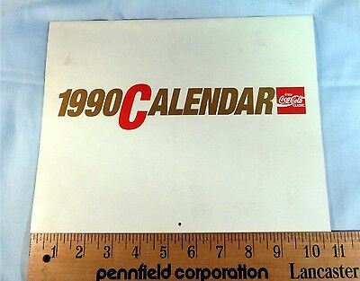 "Coke Coca Cola 1990 Wall Calendar ""Can't Beat The Real Thing"""