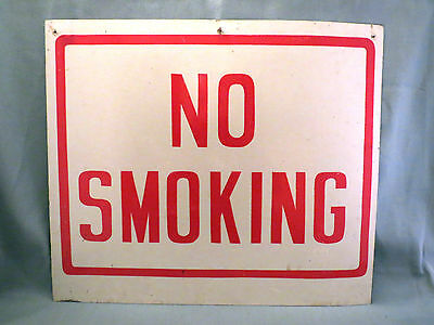 "Vintage,""NO SMOKING"" Heavy Tin Sign,Red & White,Not Porcelain.14"" X 12"""