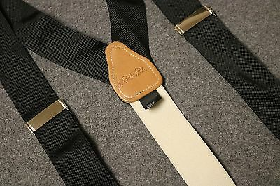 STAPLE! BROOKS BROTHERS 100% SILK Suspenders Braces SOLID BLACK SILVER ACCENTS