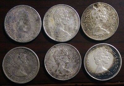 (6) Silver Canadian Quarters