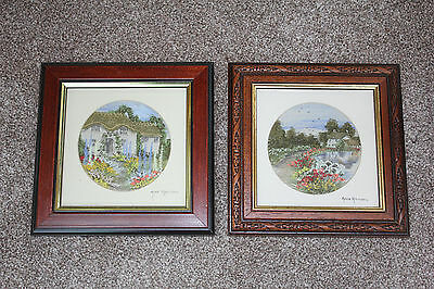 ANNE HARRISON Pair of HAND PAINTED & EMBROIDERED ENGLISH RURAL SCENES Landscapes