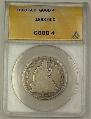 1868 US Seated Liberty Silver Half Dollar Coin ANACS G-4