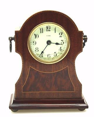 Fabulous Antique French 8 day Mahogany Inlaid Timepiece Mantel clock C1900