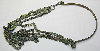 Ancient Viking Bronze neck decoration With chains  Big SIZE WEIGHT -235g