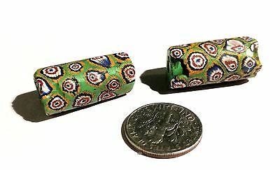 Rare Vintage GREEN Venetian Composite Millefiori Glass African Trade Beads
