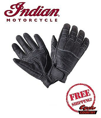 Genuine Indian Motorcycle Men's Hedstrom Leather Gloves Black New Scout Chief