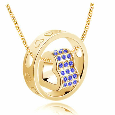 NEW Women Fashion Heart Blue Crystal Gold Charm Pendant Chain Necklace O02S4