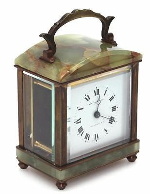 French Carriage Clock Green Marble & Brass Mantel Clock By Mappin Webb
