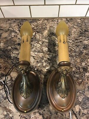Wired Pair Antique Brass Wall Sconce Fixtures House Home Lights Lighting 1E