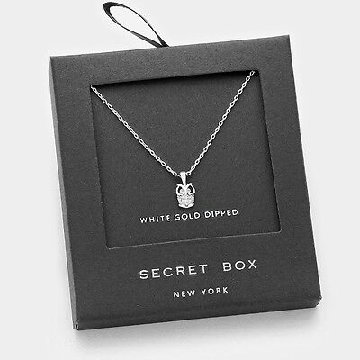 Owl Necklace Tiny Secret Box Gift WHITE GOLD DIPPED CZ Pendant Delicate Small
