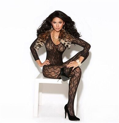 Sexy Long Sleeve Lace Bodystocking Lingerie - Black - One Size