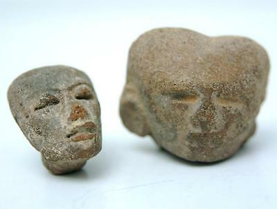 Ancient Pre Colombian Mexican Pottery Figurine Heads Mesoamerica