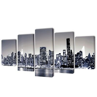 S# Set of 5 Monochrome New York Skyline Canvas Print Framed Wall Art Decor 100x5