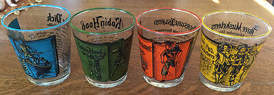 """4 Vintage Libbey Classic Novels Glassware 3 1/4"""" Moby Robin hood 3 Musketeers et"""
