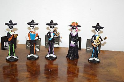 """Day of the Dead (Sugar Skull) Mariachi band figurines about 5"""""""