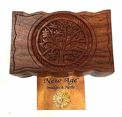 Hand Carved Tree of Life Design Features Hinges Wooden Box Unique Gift