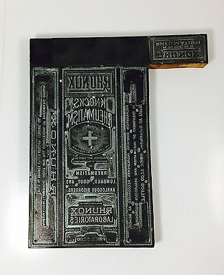 RARE Antique Copper Lead? Wood Block Apothecary RX MEDICINE LABEL Printing Plate