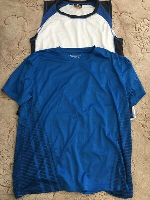 Men's Size Xl Blue Gym Top And White Gym Singlet