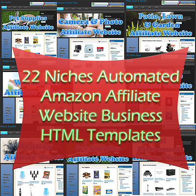 22 Niches Automated Amazon Affiliate Website Business HTML Templates For Sale