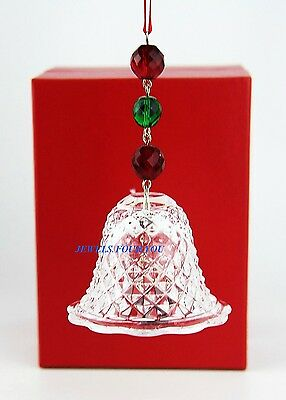 Baccarat Bell Ornament Noel Clear Red & Green Crystal Signed New Boxed France