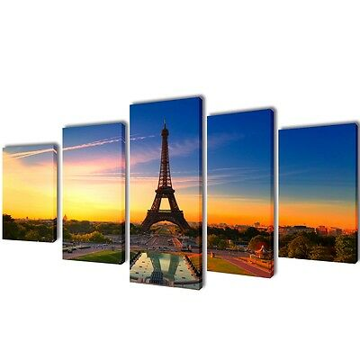 S# Set of 5 Eiffel Tower Canvas Prints Framed Wall Art Decor Painting 100x50cm