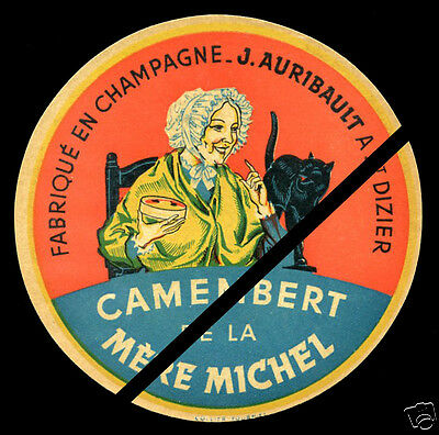 French Cat Camembert Cheese Label Vintage Fromage Mere Michel Champagne France