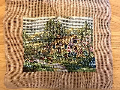 TRAMME Trammed Tapestry canvas COTTAGE SCENE - RARE no wools included