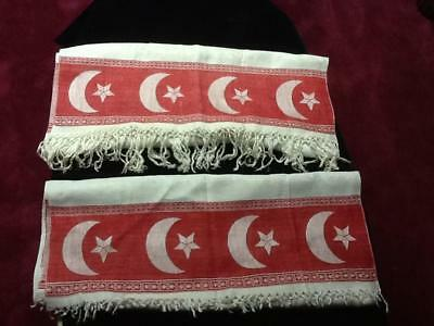 """Pair 39"""" x 22"""" Victorian TOWELS White With Red Border Moon & Star Pattern NICE !"""