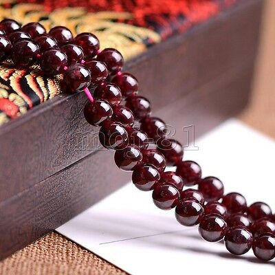 "8MM Genuine Natural Red Garnet Round Gemstone Loose Beads 15"" Strand AAA"