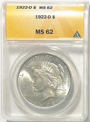 1922-D $1 Peace Dollar ANACS Slab MS 62 Underrated Date