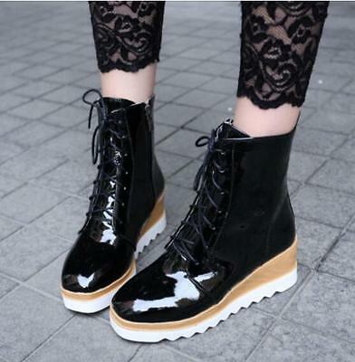 New Women Lace Up Creeper Wedge Boot High Platform Square Toe Shoes Black US 6