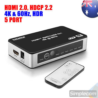 5 Way HDMI 2.0 Switch 5 Port IN 1 OUT Ultra HD 4K 60Hz HDR HDCP 2.2 for PS4 Pro