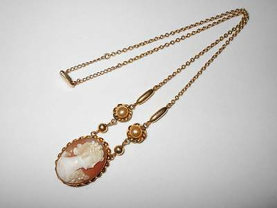 Vintage Art Deco Amco 10K Gold Filled Carved Shell Cameo Pendant Choker Necklace