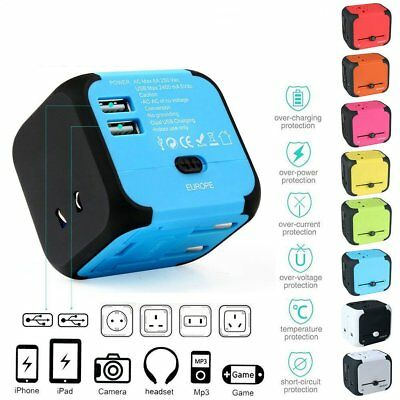 Universal International Travel 2 USB Power Plug Adapter Charger US UK EU AU  CU