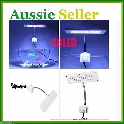 48 LED White Aquarium Clip Lamp Light For Fish Tank Plant Grow PR