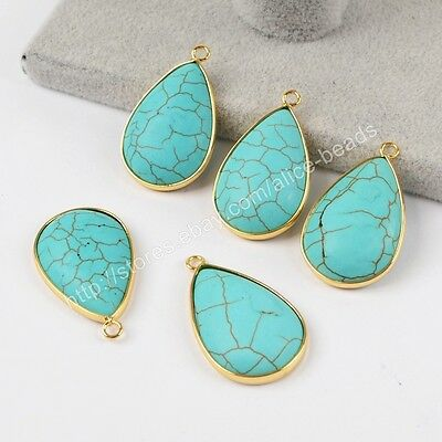 5Pcs Drop Blue Howlite Turquoise Gold Plated Charm Jewelry Making DIY HOT HG1411