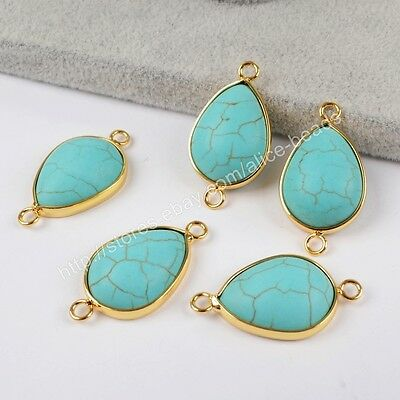 5Pcs Drop Blue Howlite Turquoise Gold Plated Charm Jewelry Making DIY HOT HG1415