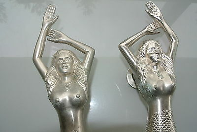 """2 USED large right MERMAID solid brass door PULL heavy handle 15"""" SILVER L & R"""