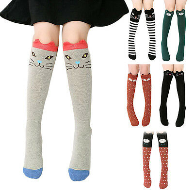 Fashion Children Girls Kids Cute Cartoon Animal Knee High Long Socks Leg Warmers