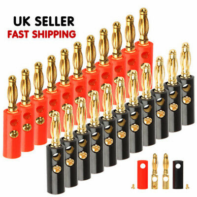 20 Pcs 4mm Plated Speaker Cable Banana Plugs Connector UK