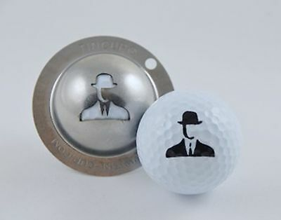 1 only TIN CUP GOLF BALL MARKER - SPY GAME - YOURS FOR LIFE & EASY TO DO