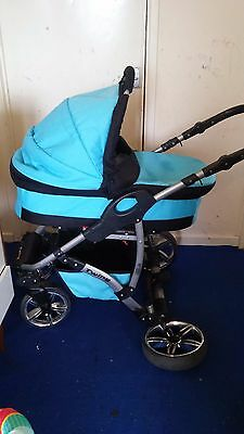twing pushchair come with carrycot and toddler seat blue and black